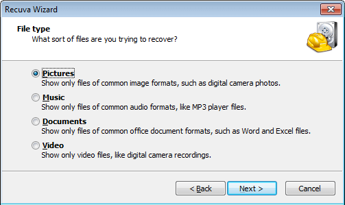 Choose File Type On Recuva File Recovery Wizard Screen
