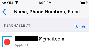Remove Apple ID Email Option on iPhone