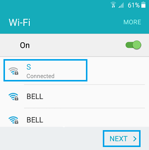 Select WiFi Network Android Phone