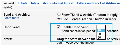 Set Undo Send Cancellation Period in Gmail