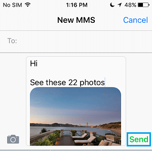 Send Photos in Text Message iPhone