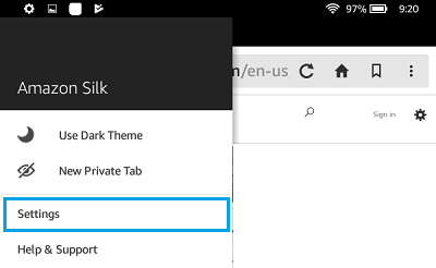 Amazon Silk Browser Settings Option