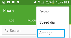 Phone Settings Tab On Android Phone