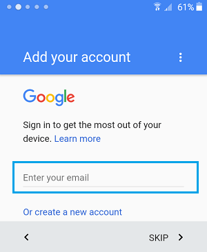 Sign in to Google Account on Android Phone