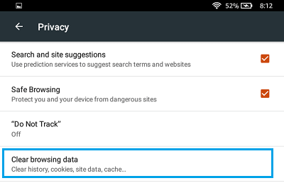 Clear Browsing Data Option on Kindle Fire