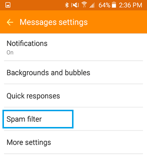Spam Filter Tab On Android Phone