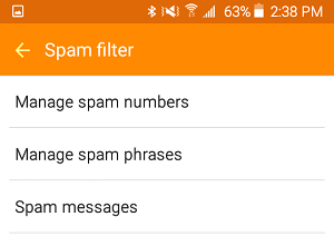 Spam Filter Options On Android Phone