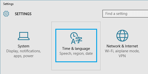 Time & Language Option On Windows Settings Screen