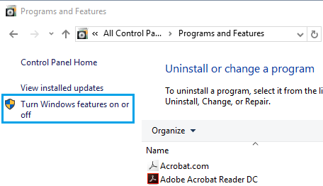 Turn Windows Features ON or OFF Link