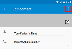 3 Dot icon On Contacts Page Android Phone