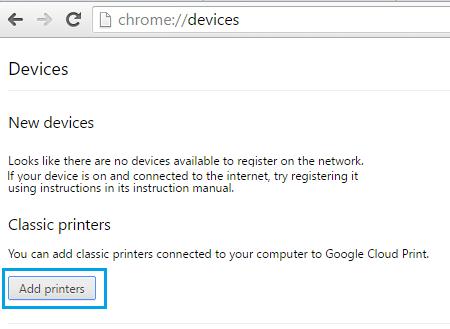 Add A Classic Printer To Google Cloud Print