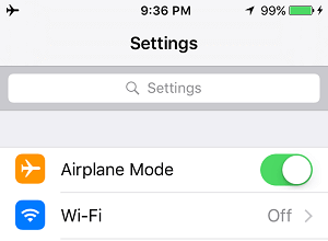 Turn ON Airplane Mode On iPhone