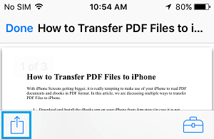 PDF Document Share icon on iPhone