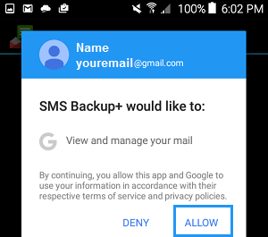 Authorize SMS Backup+ Access to Gmail Account