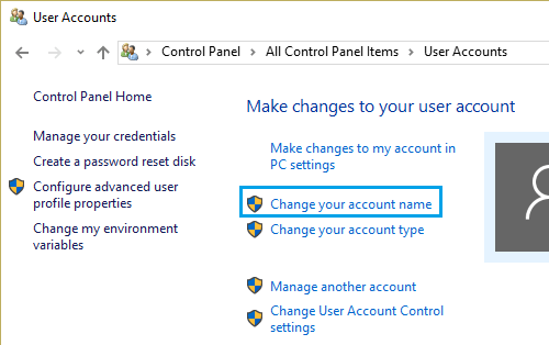 Change Account Name Option in Windows 10