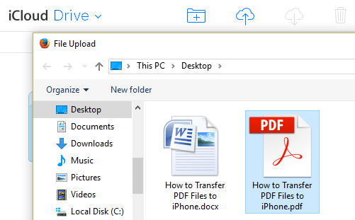 Choose PDF File On Computer For Upload to iCloud Drive