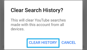 Clear YouTube Search History on this Account