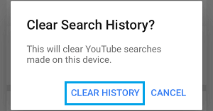 Clear YouTube Search History on this Device Popup