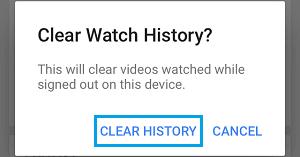 Clear YouTube Watch History on this Device