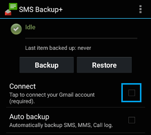 Connect Gmail Account with SMS Backup+