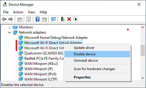 Disable Microsoft WiFi Direct Virtual Adapter