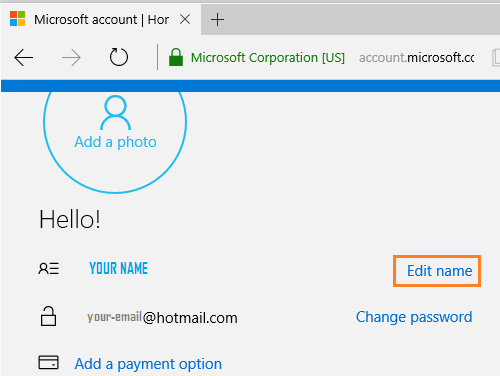 Edit Microsoft Account Name