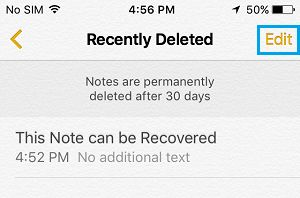 Edit Rectently Deleted Folder On iPhone