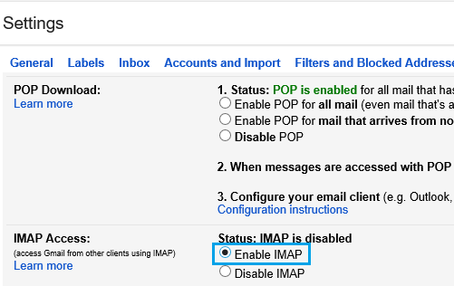 Enable IMAP on Gmail