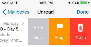 Flag Emails via Side Menu on iPhone