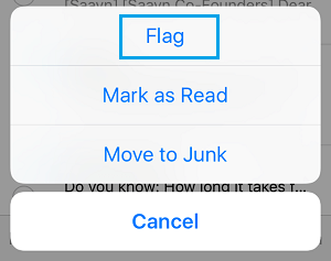 Flag Emails Option on iPhone