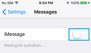 iMessage OFF On iPhone