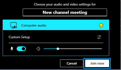 Select Audio Video Settings for Teams Meeting