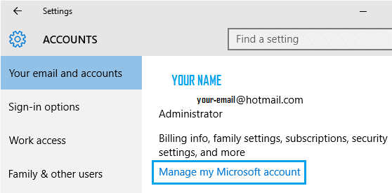 Manage My Microsoft Account Link