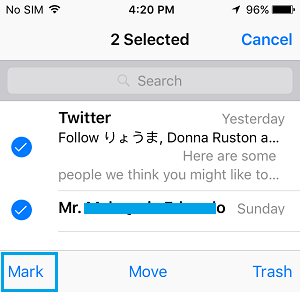 Select and Mark Email Messages On iPhone