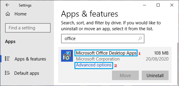 Open Microsoft Office Advanced Settings Options