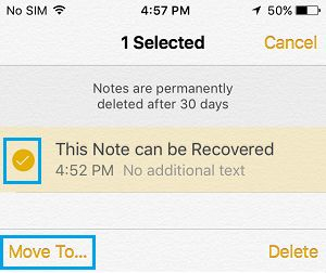 Move Deleted Folde to Option on iPhone Notes App