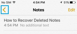 Back Arrow Button On iPhone Notes App