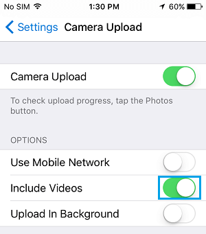 OneDrive Camera Upload Settings on iPhone