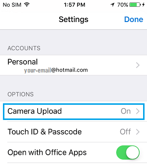 OneDrive Camera Upload Tab On iPhone