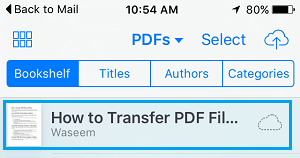 PDF Downloaded On Bookshelf Tab of iBooks App
