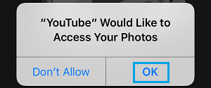 Allow YouTube Access to Photos on iPhone