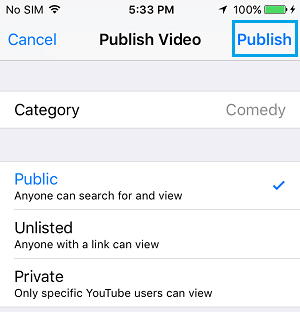 Publish Video to YouTube From iPhone