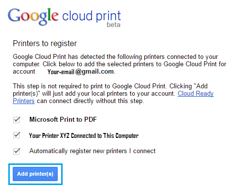 Register Classic Printer With Google