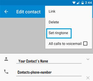 Set Ringtone Tab on Android Phone
