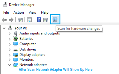 Scan For Hardware Changes Option On Windows Device Manager Screen
