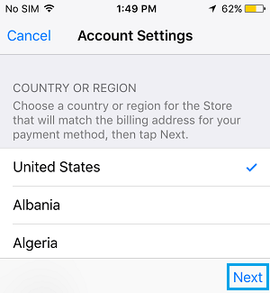 Select App Store Country