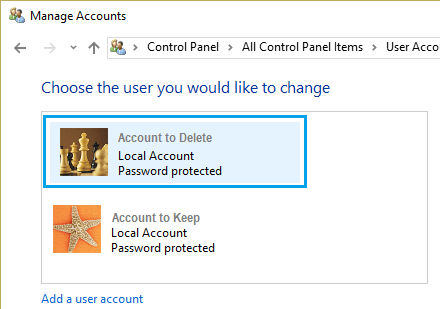 Select User Account to Delete In Windows 10