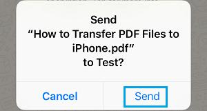 Send PDF from iCloud Popup