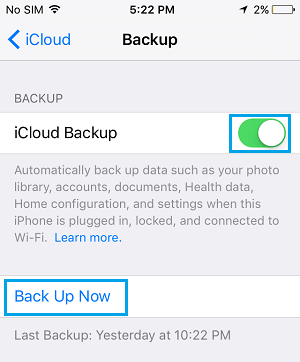 Backup Now Option ob iCloud Backup Screen on iPhone
