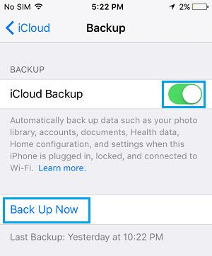 Set up iCloud Backup on iPhone